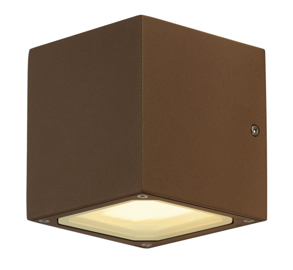 SITRA CUBE, Outdoor Wandleuchte, TCR-TSE, IP44, rost, max. 18W