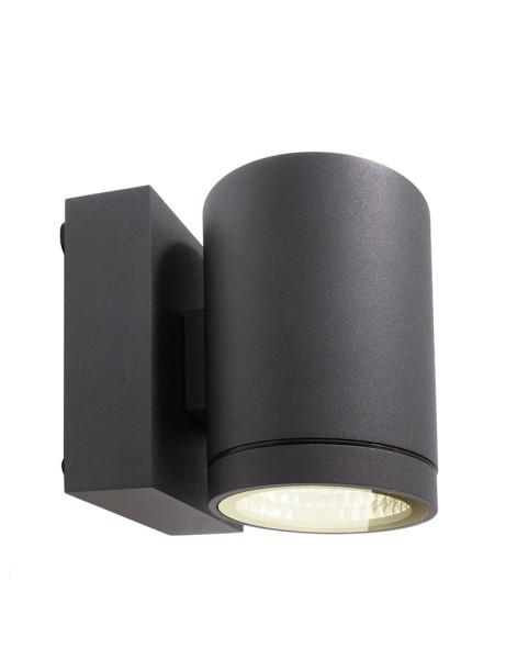 Deko-Light Wandaufbauleuchte, Mobby II Single, Aluminium Druckguss, dunkelgrau, Warmweiß, 53°, 9W