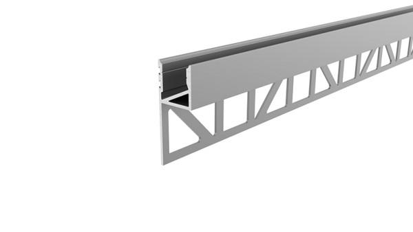 Reprofil Profil, Fliesen-Profil Abschluss nach oben leuchtend, Aluminium, Silber eloxiert, 2000mm