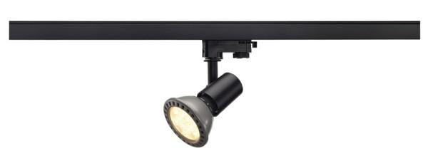 E27 SPOT, Spot für Hochvolt-Stromschiene 3Phasen, PAR 20, rund, schwarz, max. 75W