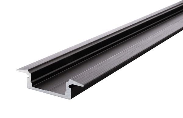 Reprofil Profil, T-Profil flach ET-01-12, Aluminium, Schwarz-matt eloxiert, 1000mm
