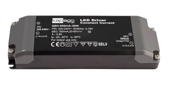 Deko-Light Netzgerät, BASIC, Q8H-500mA/30W, Kunststoff, Schwarz, 30W, 20-60V, 500mA, 142x50mm