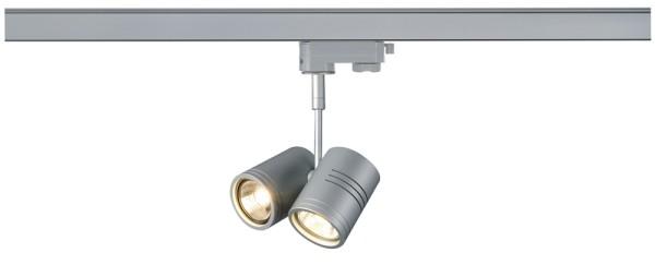 BIMA 2, Spot für Hochvolt-Stromschiene 3Phasen, zweiflammig, QPAR51, rund, silbergrau, max. 100W