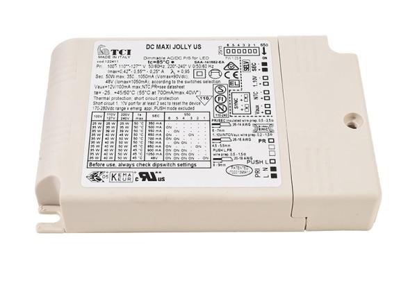 TCI Netzgerät, Jolly US 25, Kunststoff, Weiß, 50W, 48V, 350mA, 124x79mm