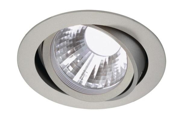 NEW TRIA DISK, Einbauleuchte, LED, 4000K, rund, silbergrau, 35°, inkl. Clipfedern