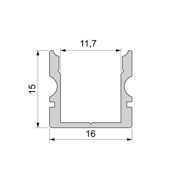 Reprofil, U-Profil hoch AU-02-10 für LED Stripes bis 11,3 mm, Silber-matt, eloxiert, 2000 mm