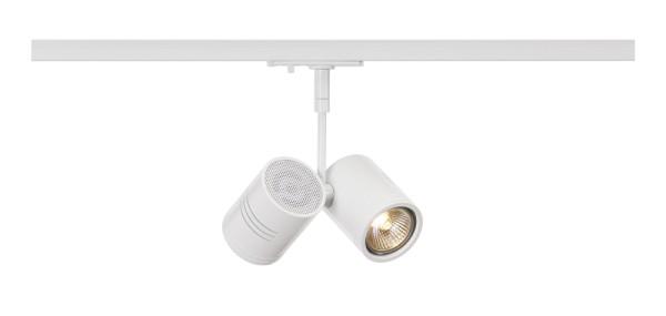 BIMA 2, Spot für Hochvolt-Stromschiene 1Phasen, zweiflammig, QPAR51, weiß matt, max. 50W