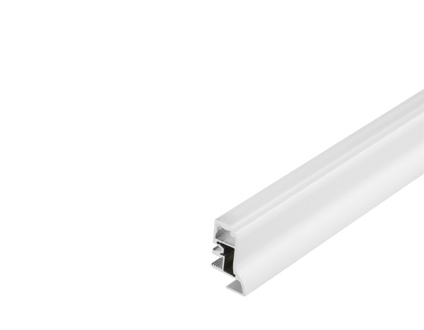 GLENOS, Fußleisten-Profil, weiß matt, 2 m, mit semi-transparenter Acrylabdeckung
