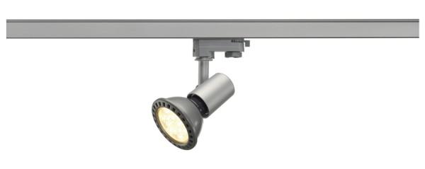 E27 SPOT, Spot für Hochvolt-Stromschiene 3Phasen, PAR 20, rund, silbergrau, max. 75W