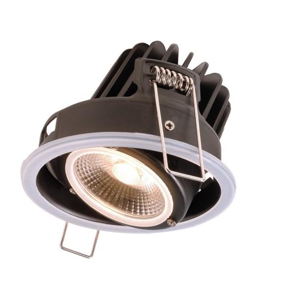 Deko-Light Deckeneinbauleuchte, Lesath, Aluminium Druckguss, schwarz, Warmweiß, 45°, 8W, 230V