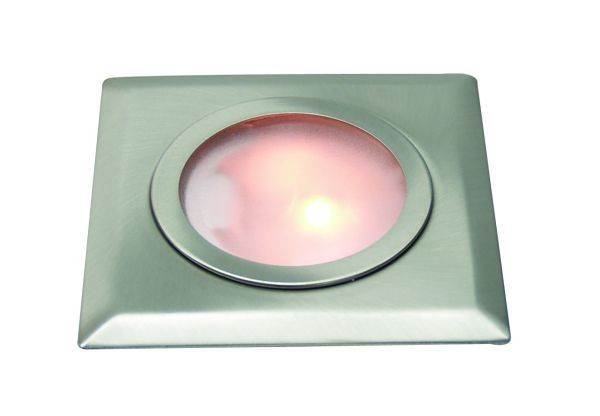 Möbeleinbauleuchte quadratisch, chrom, aus Metall, 12V, G4, max 10W.