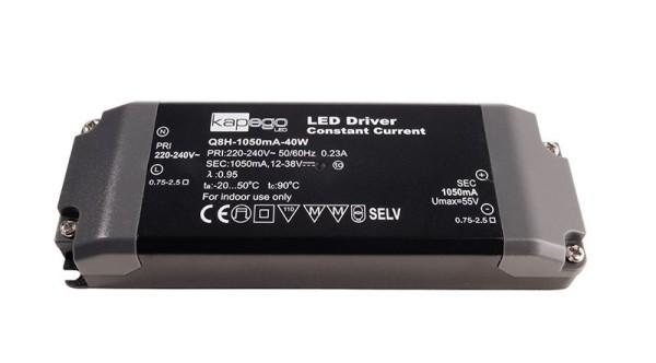 Deko-Light Netzgerät, BASIC, Q8H-1050mA/40W, Kunststoff, Schwarz, 40W, 12-38V, 1050mA, 142x50mm