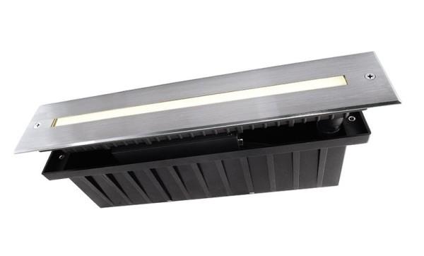 Deko-Light Bodeneinbauleuchte, Slim Line I 5,4WW, Edelstahl, silberfarben, Warmweiß, 110°, 5W, 230V