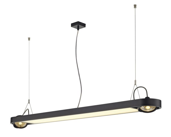 AIXLIGHT R OFFICE, Pendelleuchte, zweiflammig, QPAR111, rechteckig, schwarz, L/B/H 153/18/5 cm