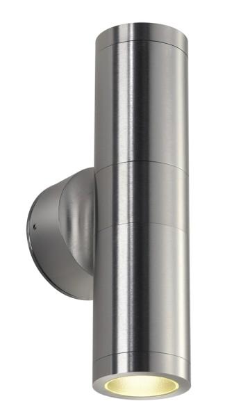 ASTINA, Outdoor Wandleuchte, TCR50-SE, IP44, rund, up/down, aluminium gebürstet, max. 44W