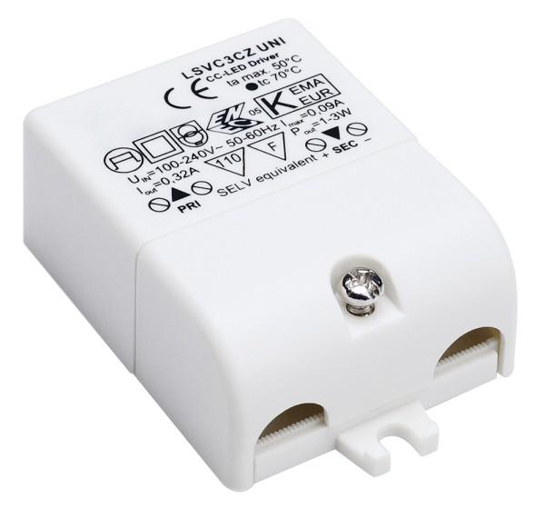 LED-TREIBER, 3W, 320mA, inkl. Zugentlastung
