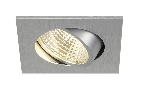 NEW TRIA 1 SET, Einbauleuchte, LED, 3000K, eckig, aluminium gebürstet, 38°, inkl. Treiber